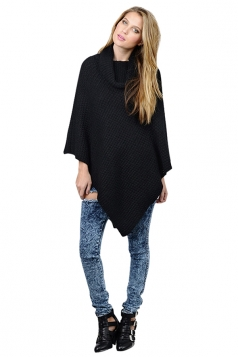 Womens Plain Asymmetrical Turtleneck Long Sleeve Poncho Sweater Black