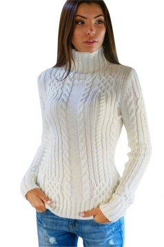 Womens Plain High Collar Long Sleeve Cable Knit Pullover Sweater White