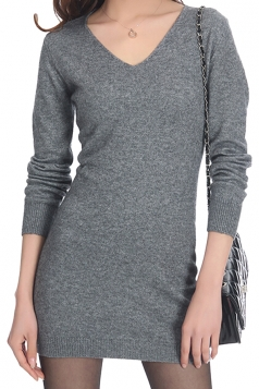 Womens Plain V Neck Long Sleeve Cashmere Pullover Sweater Gray