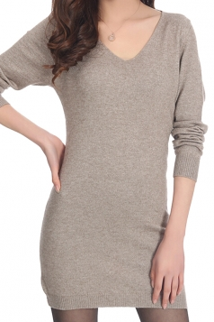 Womens Plain V Neck Long Sleeve Cashmere Pullover Sweater Khaki