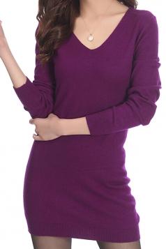 Womens Plain V Neck Long Sleeve Cashmere Pullover Sweater Purple