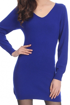 Womens V Neck Long Sleeve Cashmere Pullover Sweater Sapphire Blue