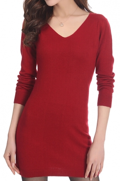Womens Plain V Neck Long Sleeve Cashmere Pullover Sweater Ruby