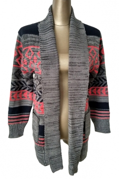 Womens Lapel Long Sleeve Geometric Jacquard Knit Cardigan Gray