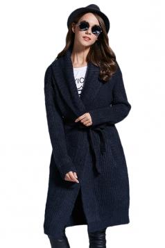 Womens Turndown Collar Long Sleeve Sash Knit Cardigan Black