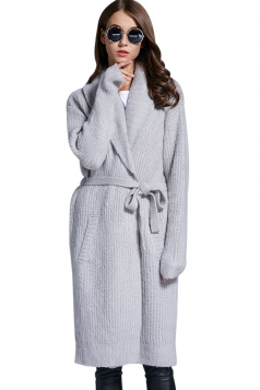 Womens Turndown Collar Long Sleeve Sash Knit Cardigan Gray