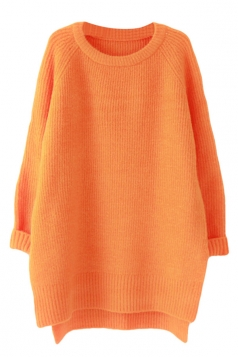 Womens Plain Crewneck Long Sleeve High Low Knit Sweater Orange