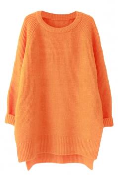 Womens Plain Crewneck Long Sleeve High Low Knit Sweater Orange