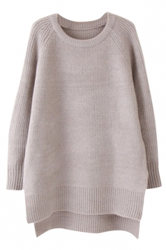 Womens Plain Crewneck Long Sleeve High Low Knit Pullover Sweater Gray