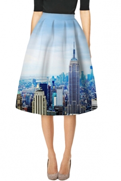 Womens Stylish City Building 3D Printed High Waist Midi Skirt Blue