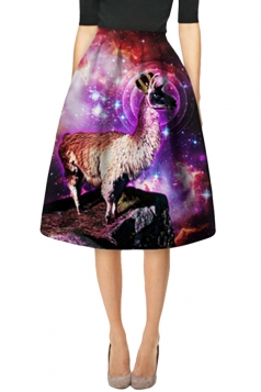 Womens Stylish Antelope 3D Printed High Waist Midi Skirt Brown