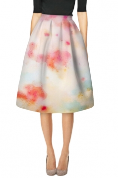 Womens Elegant Tie-Dye Printed High Waist Midi Skirt Beige White