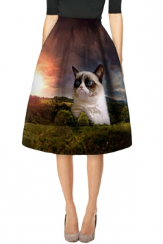 Womens Stylish Forest Cat 3D Printed High Waist Midi Skirt Coffee