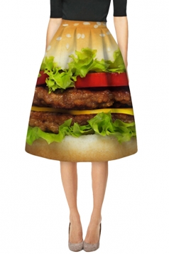 Womens Stylish Big Hamburger Printed High Waist Midi Skirt Chestnut