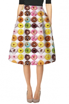 Womens Stylish Colored Donuts 3D Printed High Waist Midi Skirt Yellow
