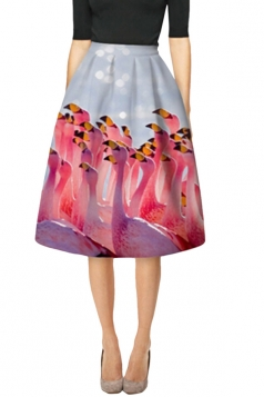 Womens Slim Flamingos Digital Printed High Waist Midi Skirt Pink