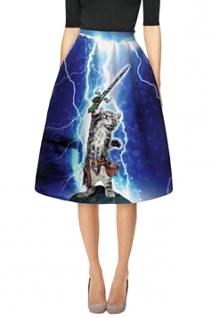 Womens Lightning Cat with Sword 3D Printed Midi Skirt Sapphire Blue