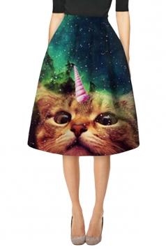Womens Stylish Galaxy Cat 3D Printed High Waist Midi Skirt Turquoise