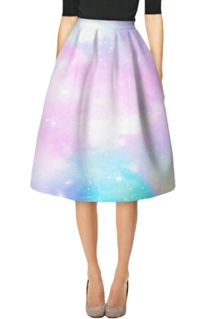 Womens Elegant Tie-Dye Printed High Waist Midi Skirt White
