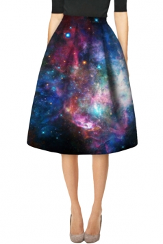 Womens Stylish Galaxy 3D Printed High Waist Midi Skirt Navy Blue