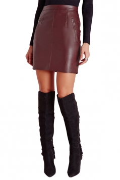 Womens Slim Zipper Back Lined PU Leather Skirt Ruby