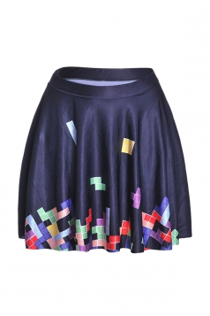 Womens Stylish Tetris Digital Print Elastic Waist Mini Skirt Black