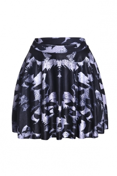 Womens Stylish Graffiti Digital Print Elastic Waist Mini Skirt Black