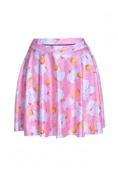 Womens Stylish Cute Cats Digital Print Elastic Waist Mini Skirt Pink