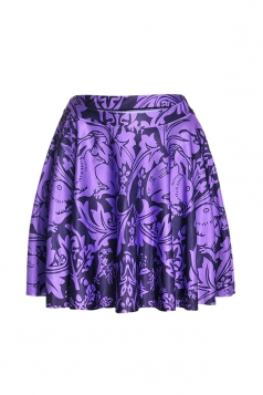 Womens Stylish Rabbit Digital Print Elastic Waist Mini Skirt Purple