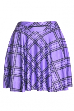Womens Stylish Plaid Digital Print Elastic Waist Mini Skirt Purple