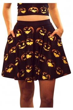Womens Pumpkin Lantern Digital Print Elastic Waist Mini Skirt Black