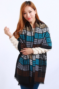 Womens Colored Plaid Pattern Fringe Cashmere Warm Shawl Scarf Black