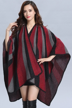 Womens Stylish Vertical Striped Medium-long Knitted Poncho Red