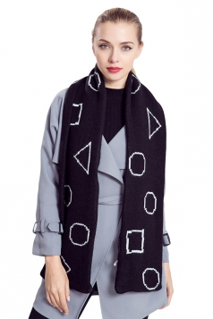 Womens Stylish Geometric Print Knit Warm Scarf Black