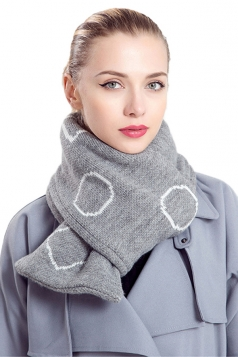 Womens Stylish Geometric Print Knit Warm Scarf Gray