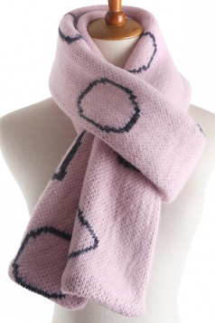 Womens Stylish Geometric Print Knit Warm Scarf Pink