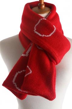 Womens Stylish Geometric Print Knit Warm Scarf Red