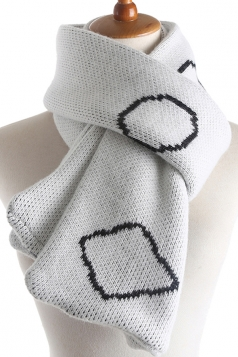 Womens Stylish Geometric Print Knit Warm Scarf White