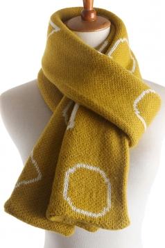 Womens Stylish Geometric Print Knit Warm Scarf Yellow