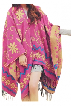 Womens Stylish Floral Print Tassel Thick Warm Shawl Scarf Rose Red