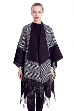 Womens Stylish Fringed Houndstooth Plaid Thick Warm Shawl Scarf Black