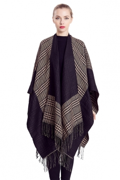 Womens Stylish Fringed Houndstooth Plaid Thick Warm Shawl Scarf Khaki