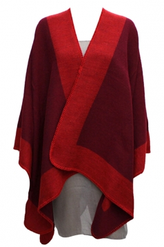 Womens Stylish Color Block Cashmere Warm Poncho Ruby