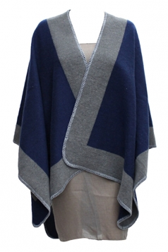 Womens Stylish Color Block Cashmere Warm Poncho Navy Blue