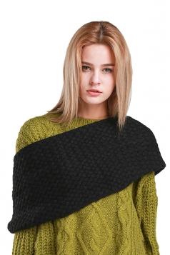 Womens Stylish Plain Thick Warm Scarf Black