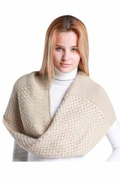 Womens Stylish Plain Thick Warm Scarf Beige White