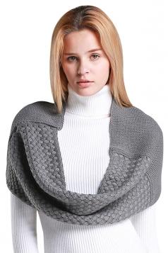 Womens Stylish Plain Thick Warm Scarf Gray