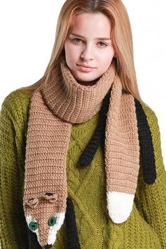 Womens Cute Hand Knit Cartoon Fox Warm Scarf Brown