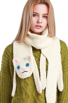 Womens Cute Hand Knit Cartoon Cat Warm Scarf White