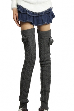 Womens Cable Knit Over Knee Fuzzy Ball Decor Long Stockings Dark Gray